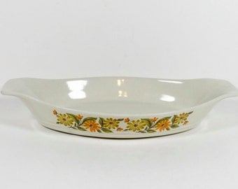 Capri Groovy Daisy - Serv-n-Store Stoneware Ceramic Baking Dish - Gratin Casserole Dish - 70s Casserole