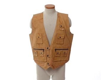 Vintage 80s 90s Leather Cargo Vest 1980s 1990s Daily Planet Hippie Steampunk Rocker Stoner Hunting Multi Pockets Jacket / mens XL
