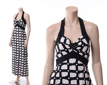 Vintage 60s Mod Black and White Check Halter Dress 1960s Darling Debs Ruth Eib Hippie Boho Festival Modern Checkered Maxi Dress / XS