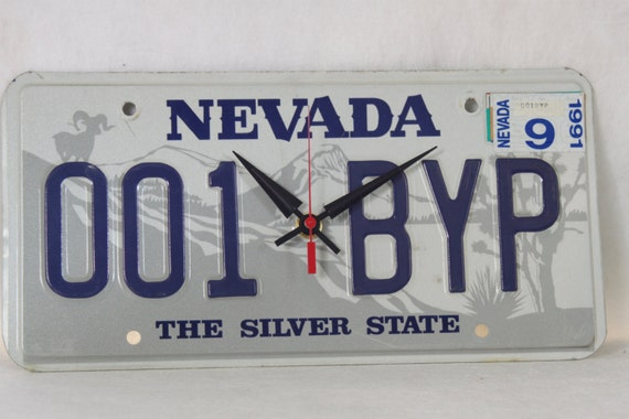 Vintage Marriage Certificate Washoe County Nevada: Items Similar To Vintage Nevada License Plate Wall Clock