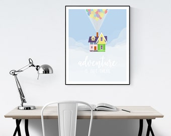Adventure is Out There - Up Quote Minimalist Poster