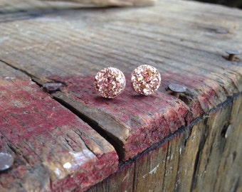 10mm Dusty Rose Gold druzy studs