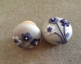 Pair of Polymer Clay drawer knobs/handles - purple and lilac flowers