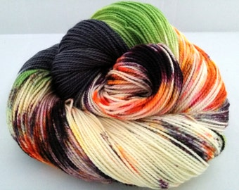 "Hand dyed ""Halloweenie"" twisted merino sock yarn"