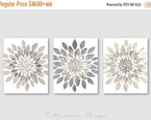 ON SALE Modern Flower Bursts Neutral Colors Fine Art Print Set of (3) 5x7, 8x10 OR 11x14 // Grey, Tan, Dust // Cottage, Home, Apartment Wall