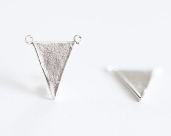 Sterling Silver Triangle Flag Connector Charm - 2pcs, 925 silver, triangle frame, isosceles geometrical, chevron arrow charm