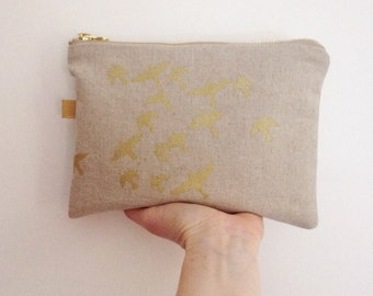 Screen print pouch purse Large // natural linen gold print // flock of birds // hand printed zip zipper purse UK sel