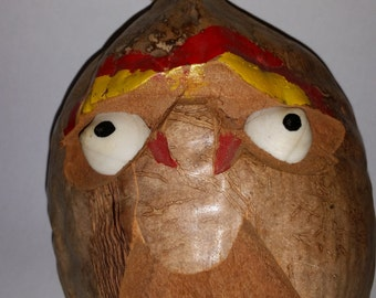 Vintage Souvenir Coconut Head 1950's Folk Art Carved Coconut Face 50's Souvenir of Florida Tropical Home Decor