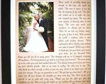 Gift for parents of bride or groom, custom picture, frame option, quote photo custom gift for mom, dad, thank you wedding gift parents