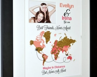 Customized world map gift for friend living far away long distance friends friend gifts usa asia australia europe africa best friend gifts