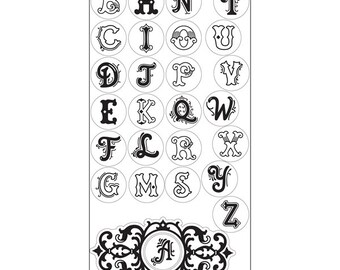 Sizzix - Interchangeable Clear Stamps - Monogram Alphabet by Jen Long