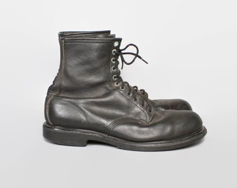 Vintage Men's RED WING BOOTS / 1980s Black Work Steel Toe Boots 14