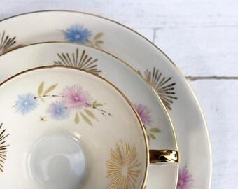 Vintage German Teacup and Saucer Trio Set - Modern Gold Burst with Pastel Flowers