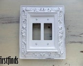 Framed Double Switch Plate Ornate Shabby Chic White Electrical GFI Cottage Painted Cover Vintage Plastic Wall Light Decor DETAILS BELOW