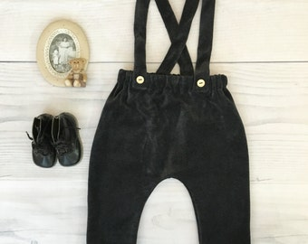 Baby boy harem pants Baby jersey pants with suspenders Baby boy outfit Velveteen pants Baby clothes Family photo 1st Birthday outfit