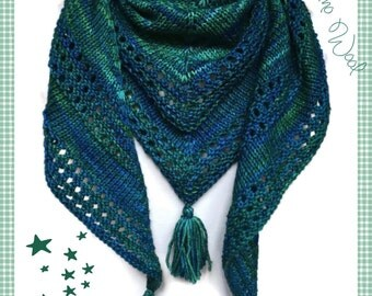 Merino Wool Shawl Blue Green Blend Tassels Womens Fashion Handknit
