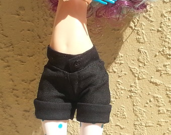 "Black Cuffed Shorts to fit 17"" in Tall Ever After Monster High Dolls"