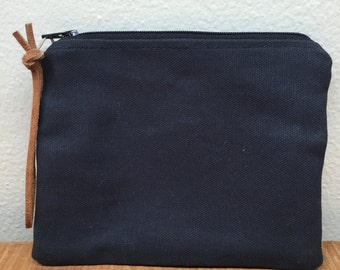 Small Black Canvas Handbag / Clutch