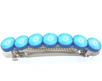 Big blue elegant barrette, Hair jewelry barrette, Polymer clay barrette,  unique turquoise barrette in kaleidoscope pattern