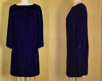 1960s Lush Blue Velvet Baby Doll Mini Dress