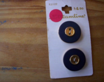 Streamline/Streamline buttons/Plastic buttons/Navy blue and gold button/Sewing buttons/Embellishment buttons/Sewing projects/Round buttons