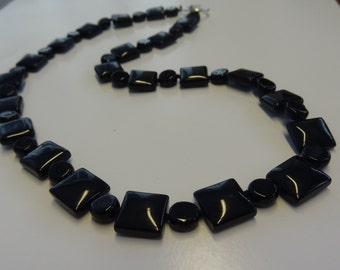 "Solid Black Onyx Geometric Square and Round Beaded Necklace 20"" Long"