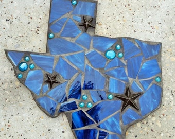 Large Mosaic Texas with cast iron star - stained glass mosaic