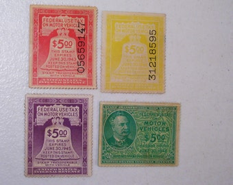 US Lot of 4 Motor Vehicle Revenue Tax Stamps, 1943-46, 5 Dollars, MNH, mint