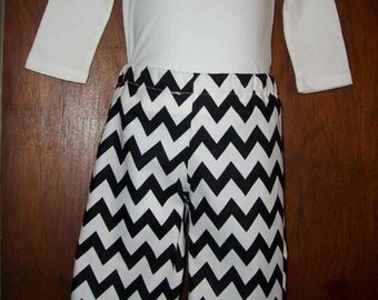 Black Chevron Ruffle Pants in Sizes 6 Months to 8 Years