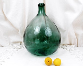 Antique French Green Glass Demijohn / Carboy 5 L / 2.64 Gallon, French Decor, French Country Decor,  Rustic Cottage, Bottle Vase, Glass Vase