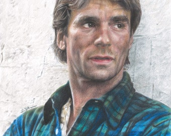 "Full Color Drawing Print of Colored Pencil Drawing of Richard Dean Anderson as ""MacGyver"" (8.5 x 11)"
