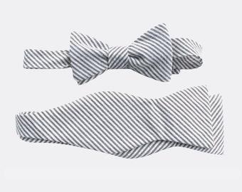 Father Son Matching Bow Tie Sets - Grey Seersucker