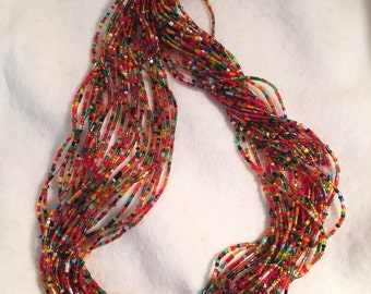 Multi-strand Necklace, Colorful Seed Bead Necklace, Festive Necklace, Sparkling Seed Bead Necklace, Fanciful Necklace