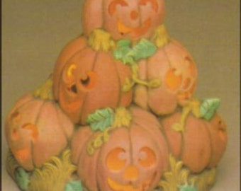 """Pumpkin Stack 9"""" ready to paint ceramic bisque with cut outs for light to be added"""