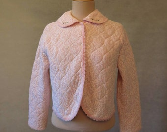 Pink Quilted Lace Bedjacket