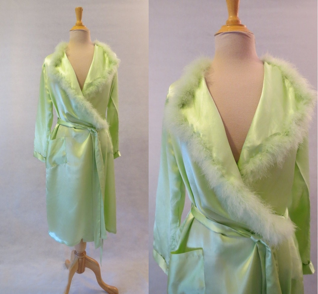 Green Silk Robe With Feather Trim