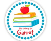 Personalized Name Label Stickers - School Books, Blue Polka Dots, Red Teacher Apple, Name Stickers - Back to School - This Belongs To Labels