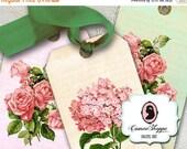 75% OFF SALE SHABBY Hydrangea Rose Digital Collage Sheet Digital Hang Tags DIgital Scrapbooking Download