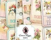 75% OFF SALE LOVELY Spring Tickets Digital Collage Sheet Strips Digital Scrapbooking download