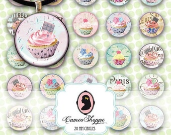 75% OFF SALE Digital Collage Sheet Circle CUPCAKES 20 mm Circles Digital Collage Instant Download