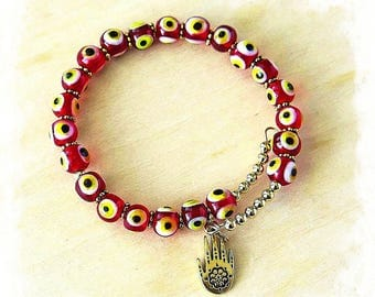 Memory Wire Single Wrap Evil Eye Bracelet, Turkish Eye Beads, Hamsa Hand charm, Tribal style, Boho Chic, Red Eye Beads