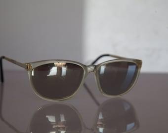 Vintage Polaroid Crystal Frame, Gold Temples, Mirror Non  Polarizing Lenses POLAROID FACES 8759B. Collectible. Made in France