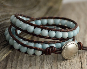 Bohemian chic beaded leather wrap bracelet. Mint green amazonite bead bracelet