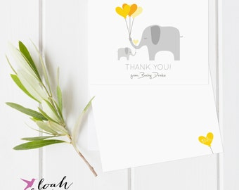 Elephant Baby Shower Thank You Cards, Twins, Triplets Thank You Cards, Baby Shower Thank You Cards // Boy or Girl // Flat  // Set of 25