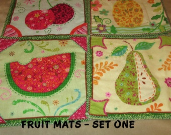 FRUIT,  MINI MATS, Mug Mats, Coasters, Set of Four,  Fruit Prints, Cottage  Decor, Shabby Chic,  Table Decor,  Hostess Gift, Summer, Spring