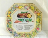 50% OFF SALE Vintage 1982 Avon Buche Noel Recipe Decorative Tin Plate,Christmas and Holiday Decor