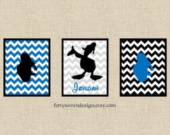 Set of 3 Donald Duck Blue Chevron Custom Name Printable Wall Art 8x10