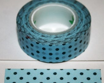 Light Blue with Charcoal Grey Dots Washi Tape