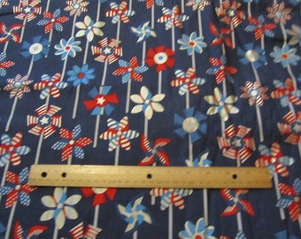 Navy Blue Pin Wheels Fourth of July/Patriotic Cotton Fabric by the Yard