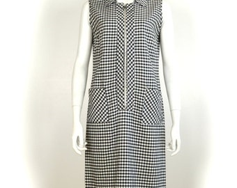 ON SALE 1960s GINGHAM Dress: 60s gingham dress / 1960s gingham / gingham dress / 60s day dress / vintage day dress / check / scooter dress /